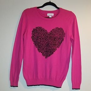 Pink Crewneck Sweater with Black Lace Heart
